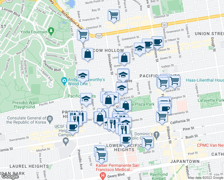 map of restaurants, bars, coffee shops, grocery stores, and more near 2800 Pacific Avenue in San Francisco