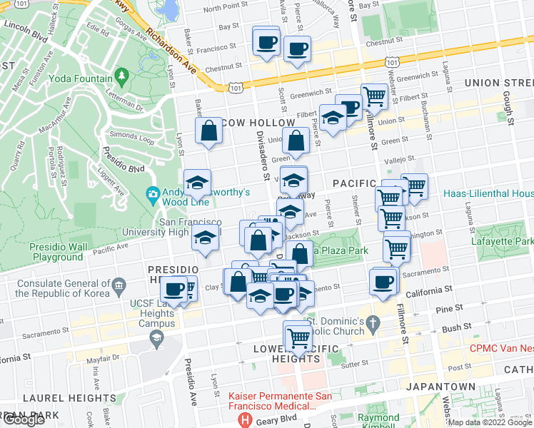 map of restaurants, bars, coffee shops, grocery stores, and more near 2505 Divisadero Street in San Francisco