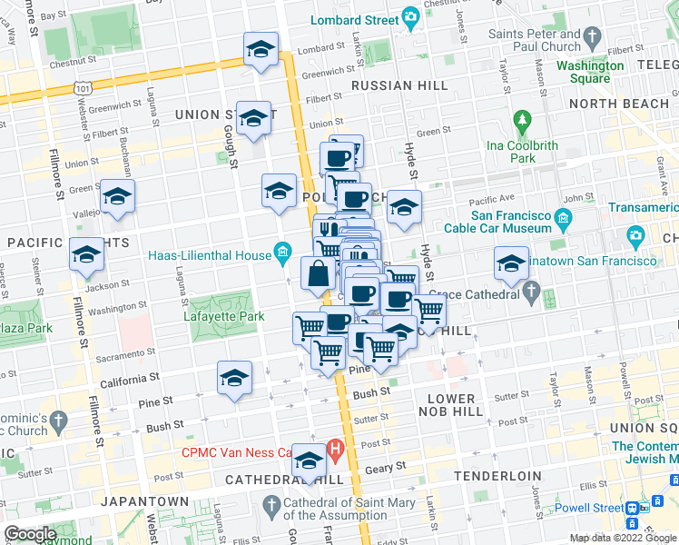 map of restaurants, bars, coffee shops, grocery stores, and more near 1750 Washington St in San Francisco