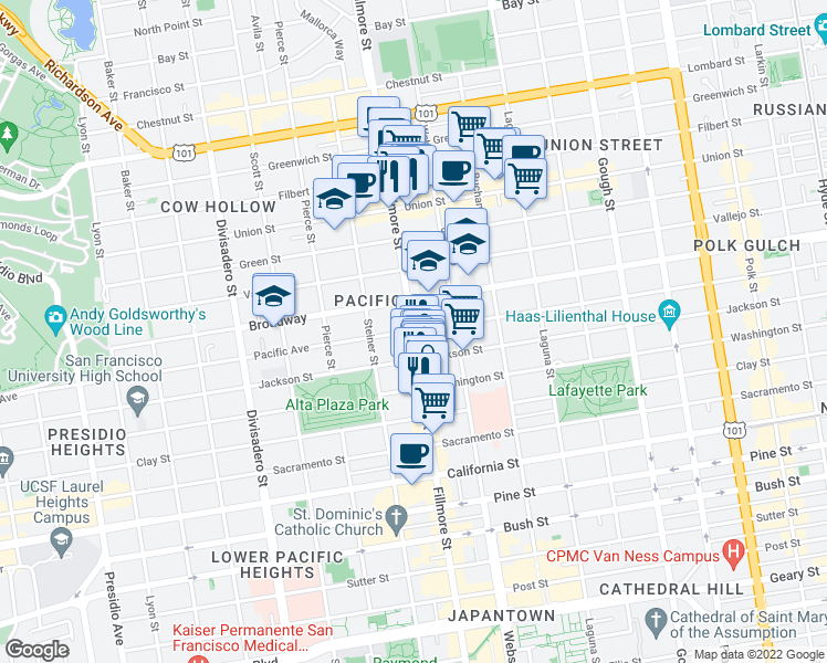 map of restaurants, bars, coffee shops, grocery stores, and more near Pacific Ave & Fillmore St in San Francisco