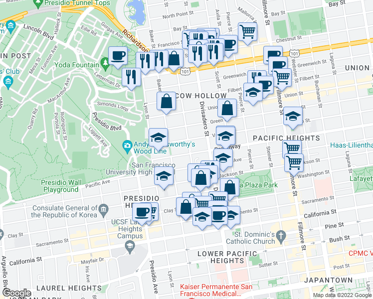 map of restaurants, bars, coffee shops, grocery stores, and more near 2808 Broadway in San Francisco