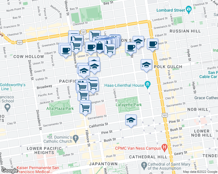 map of restaurants, bars, coffee shops, grocery stores, and more near 2143 Pacific Avenue in San Francisco