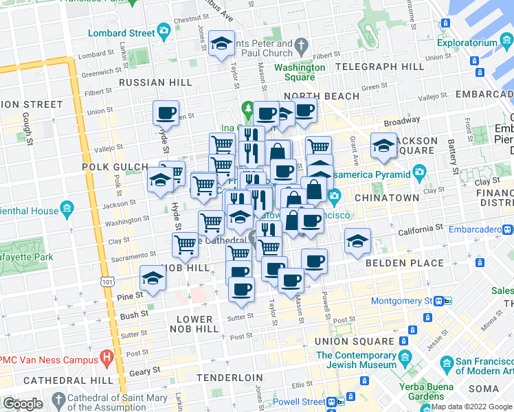 map of restaurants, bars, coffee shops, grocery stores, and more near 1255 Taylor St in San Francisco