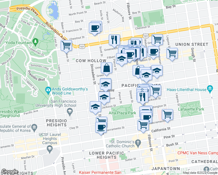 map of restaurants, bars, coffee shops, grocery stores, and more near 2610 Scott Street in San Francisco