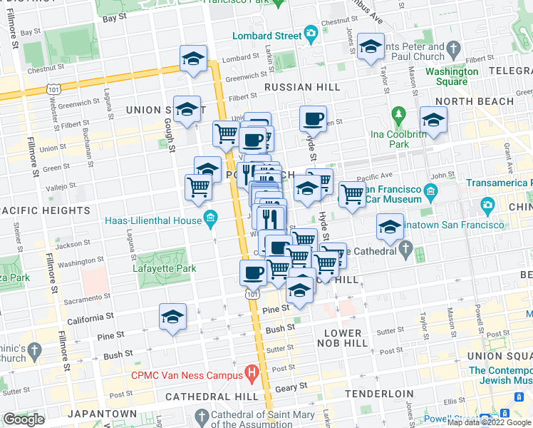 map of restaurants, bars, coffee shops, grocery stores, and more near Jackson Street & Polk Street in San Francisco