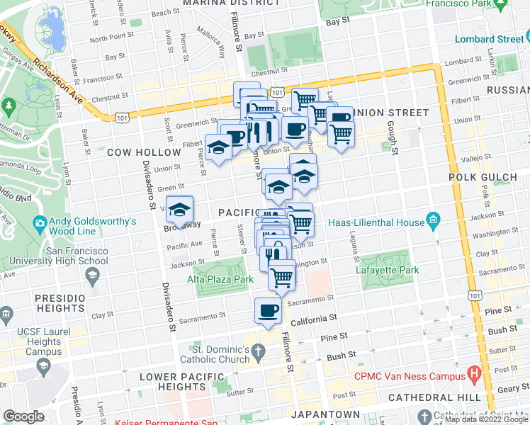 map of restaurants, bars, coffee shops, grocery stores, and more near 2300 Broadway in San Francisco