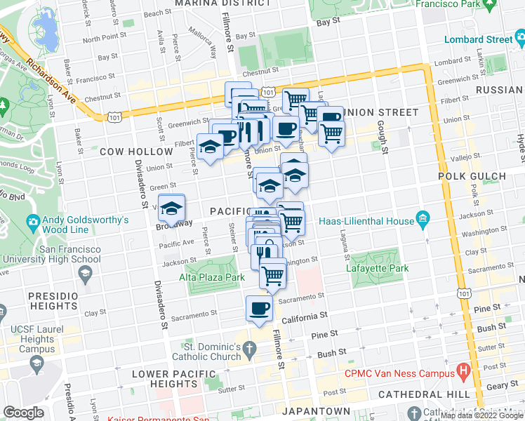 map of restaurants, bars, coffee shops, grocery stores, and more near 2285 Broadway in San Francisco