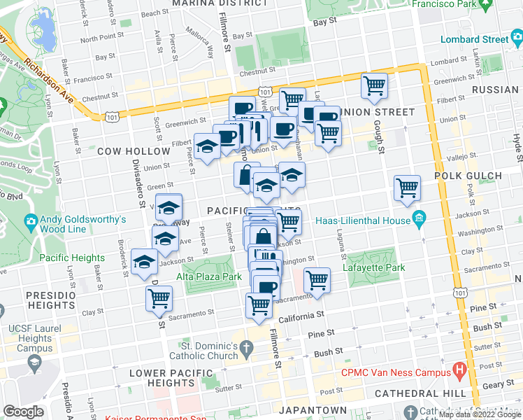 map of restaurants, bars, coffee shops, grocery stores, and more near 2275 Broadway in San Francisco