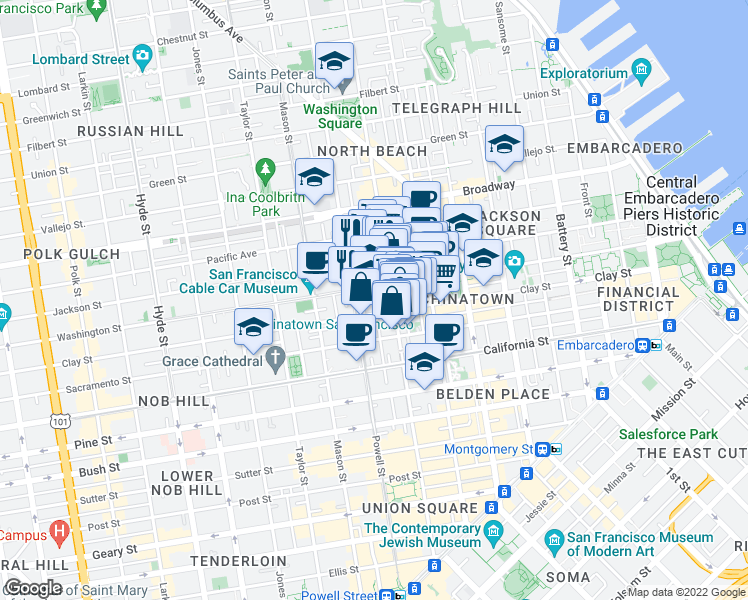 map of restaurants, bars, coffee shops, grocery stores, and more near 914-916 Clay Street in San Francisco