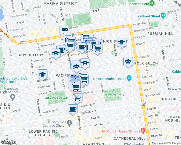 map of restaurants, bars, coffee shops, grocery stores, and more near Broadway & Buchanan St in San Francisco