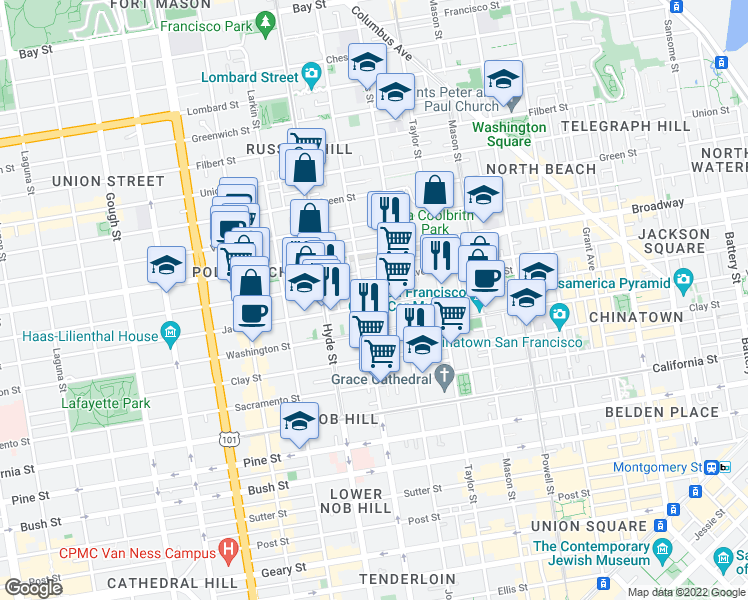 map of restaurants, bars, coffee shops, grocery stores, and more near 1278 Jackson Street in San Francisco