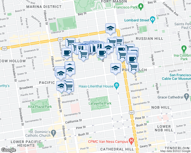 map of restaurants, bars, coffee shops, grocery stores, and more near Broadway & Octavia St in San Francisco