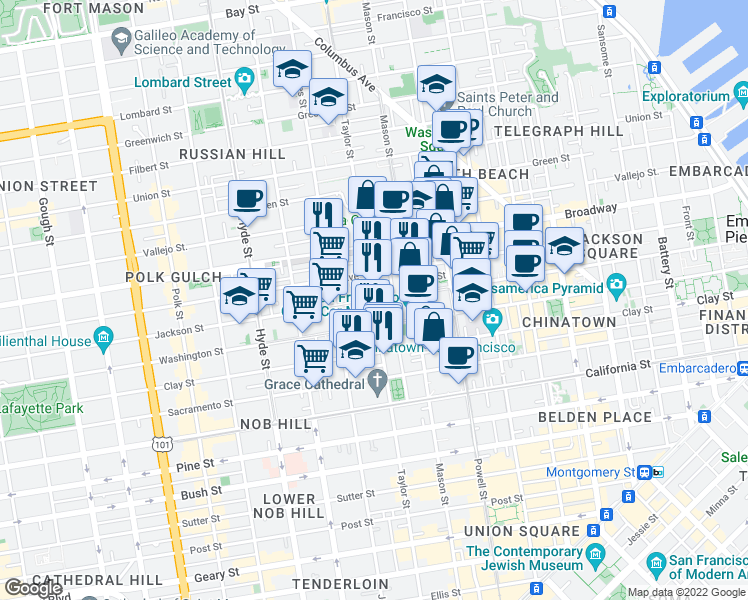 map of restaurants, bars, coffee shops, grocery stores, and more near 1425 Taylor Street in San Francisco
