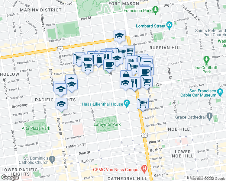 map of restaurants, bars, coffee shops, grocery stores, and more near Gough St & Broadway in San Francisco