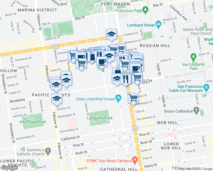 map of restaurants, bars, coffee shops, grocery stores, and more near 1790 Broadway in San Francisco