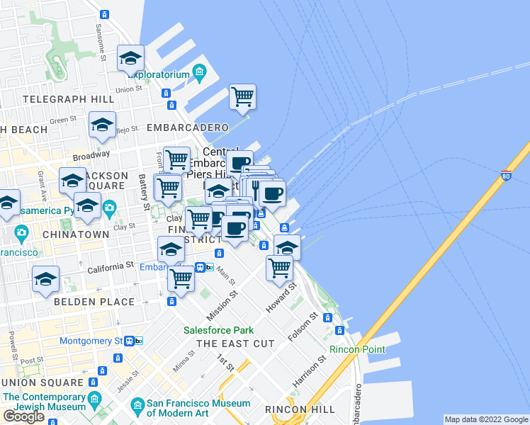 map of restaurants, bars, coffee shops, grocery stores, and more near 351 San Francisco Bay Trail in San Francisco