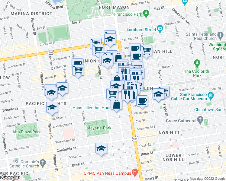 map of restaurants, bars, coffee shops, grocery stores, and more near 1700 Broadway in San Francisco
