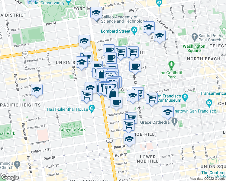 map of restaurants, bars, coffee shops, grocery stores, and more near 1545 Broadway in San Francisco