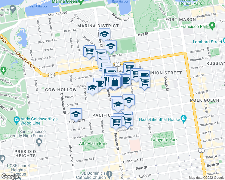 map of restaurants, bars, coffee shops, grocery stores, and more near 2169 Union Street in San Francisco