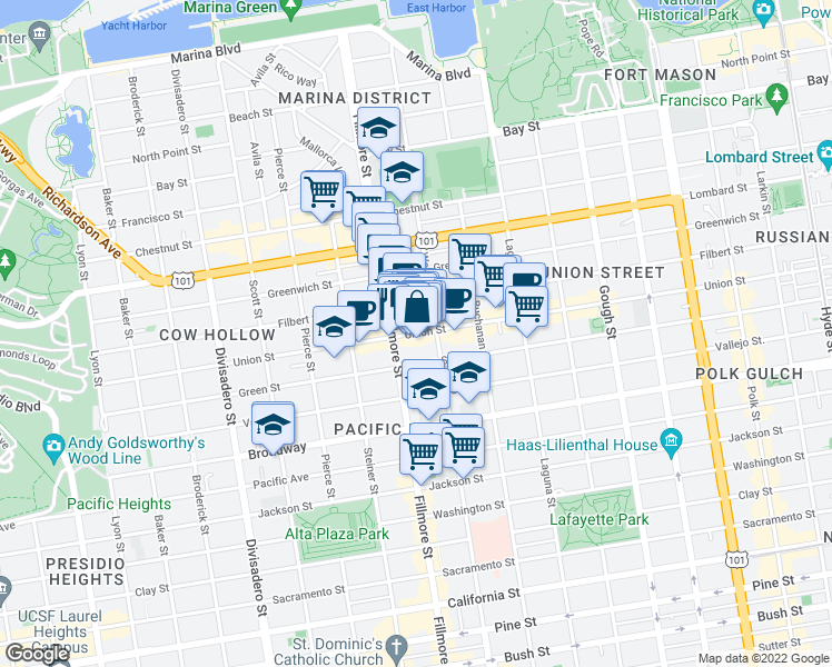 map of restaurants, bars, coffee shops, grocery stores, and more near 2147 Union Street in San Francisco