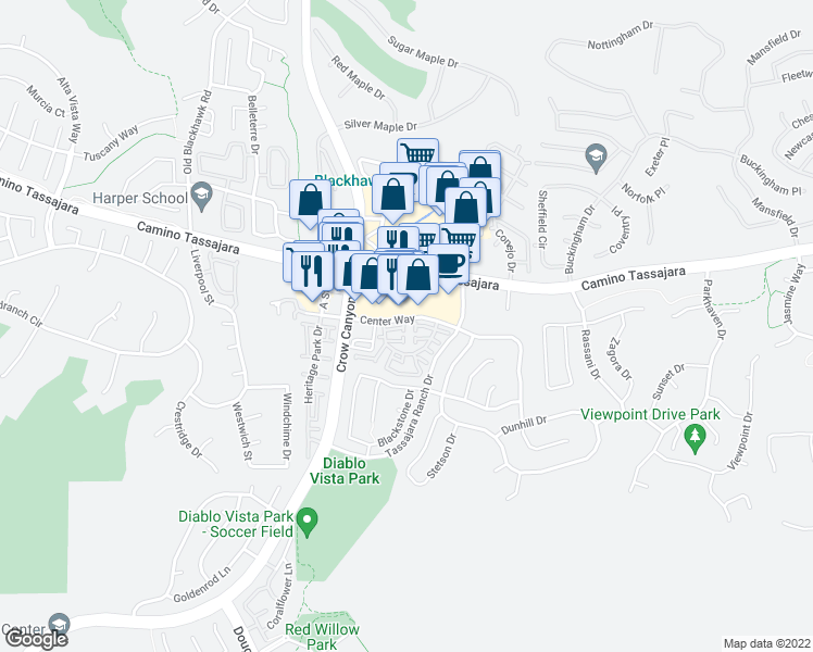 map of restaurants, bars, coffee shops, grocery stores, and more near 958 Falcon Court in Danville