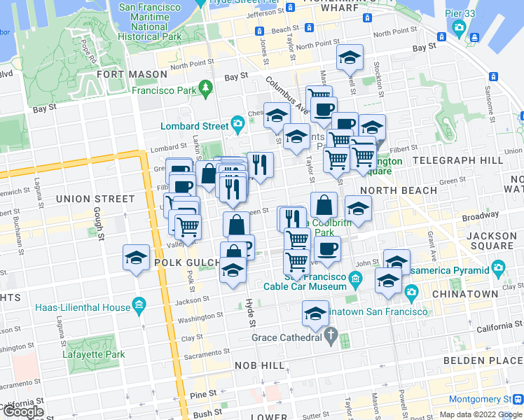 map of restaurants, bars, coffee shops, grocery stores, and more near Green Street & Leavenworth Street in San Francisco