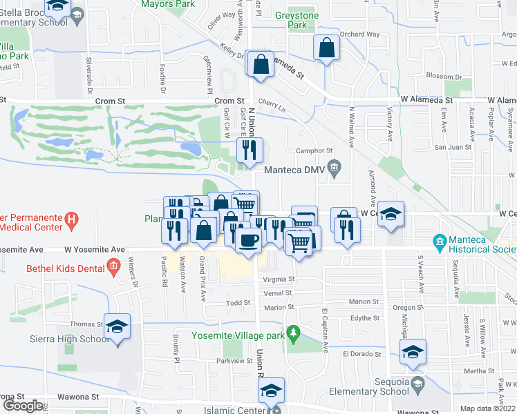 map of restaurants, bars, coffee shops, grocery stores, and more near 1155 West Center Street in Manteca