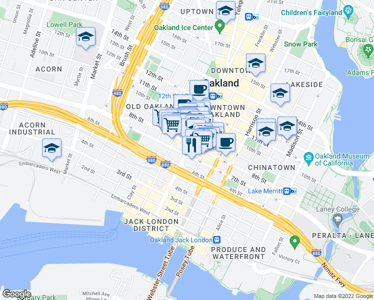 map of restaurants, bars, coffee shops, grocery stores, and more near 721 Broadway in Oakland