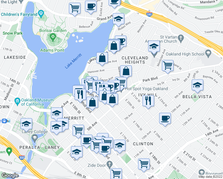 map of restaurants, bars, coffee shops, grocery stores, and more near 240 Athol Avenue in Oakland
