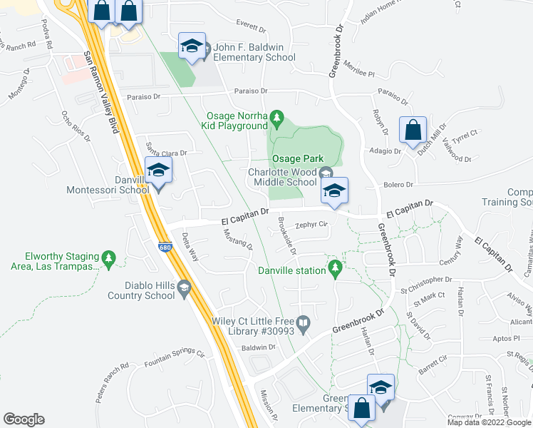 map of restaurants, bars, coffee shops, grocery stores, and more near 0 Danville Oak Place in Danville