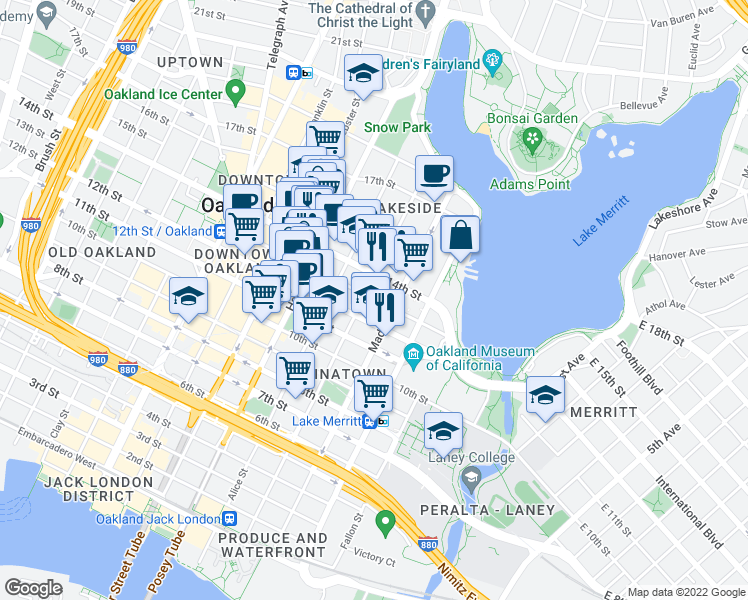 map of restaurants, bars, coffee shops, grocery stores, and more near 184 13th Street in Oakland