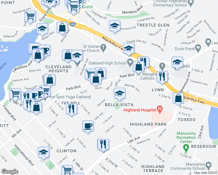 map of restaurants, bars, coffee shops, grocery stores, and more near 8th Avenue & Ivy Drive in Oakland