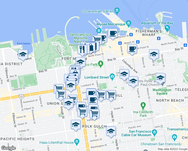 map of restaurants, bars, coffee shops, grocery stores, and more near 2701 Larkin Street in San Francisco