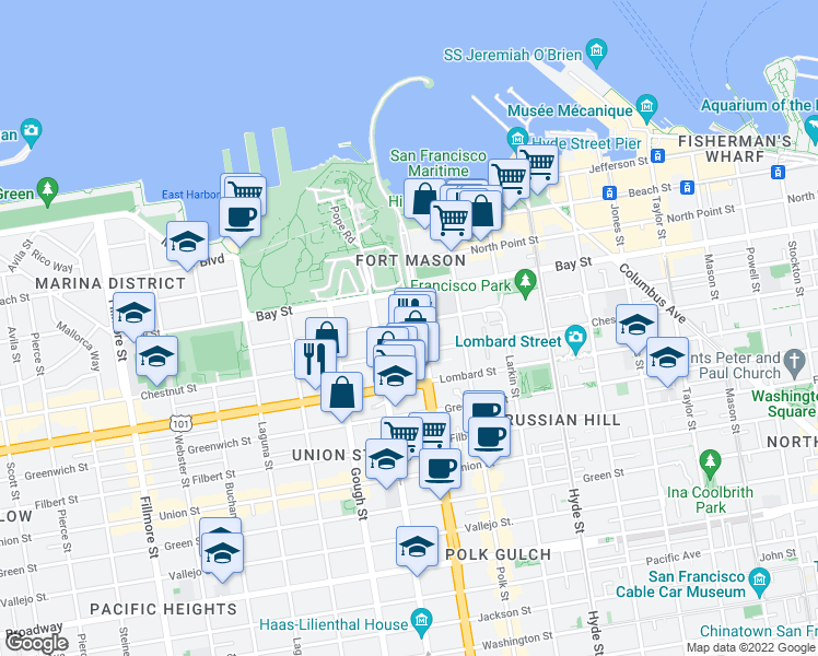 map of restaurants, bars, coffee shops, grocery stores, and more near 2975 Van Ness Avenue in San Francisco