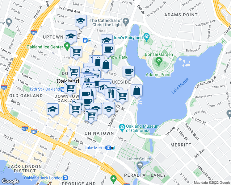 map of restaurants, bars, coffee shops, grocery stores, and more near 1505 Jackson Street in Oakland