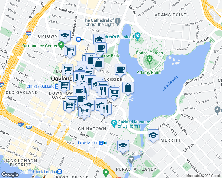 map of restaurants, bars, coffee shops, grocery stores, and more near 1514 Jackson Street in Oakland