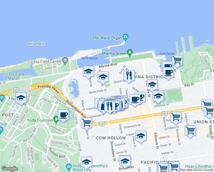 map of restaurants, bars, coffee shops, grocery stores, and more near 2099 Beach Street in San Francisco
