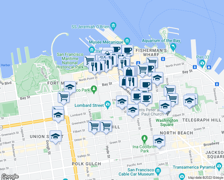 map of restaurants, bars, coffee shops, grocery stores, and more near 2502 Leavenworth St in San Francisco