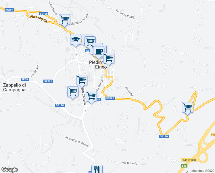 map of restaurants, bars, coffee shops, grocery stores, and more near Via Roma in Piedimonte Etneo