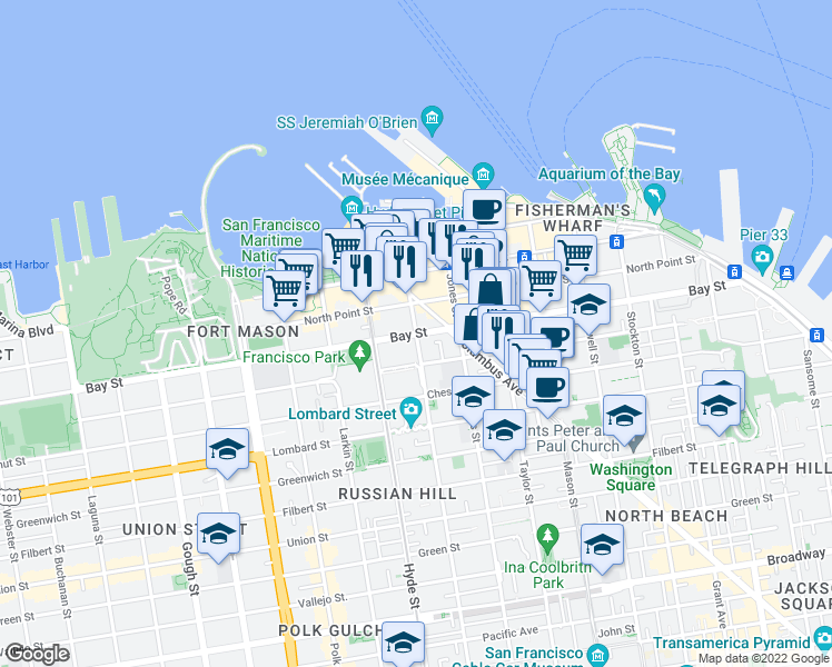 map of restaurants, bars, coffee shops, grocery stores, and more near 700 Bay St in San Francisco