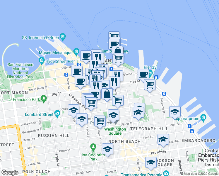 map of restaurants, bars, coffee shops, grocery stores, and more near 225 Bay Street in San Francisco