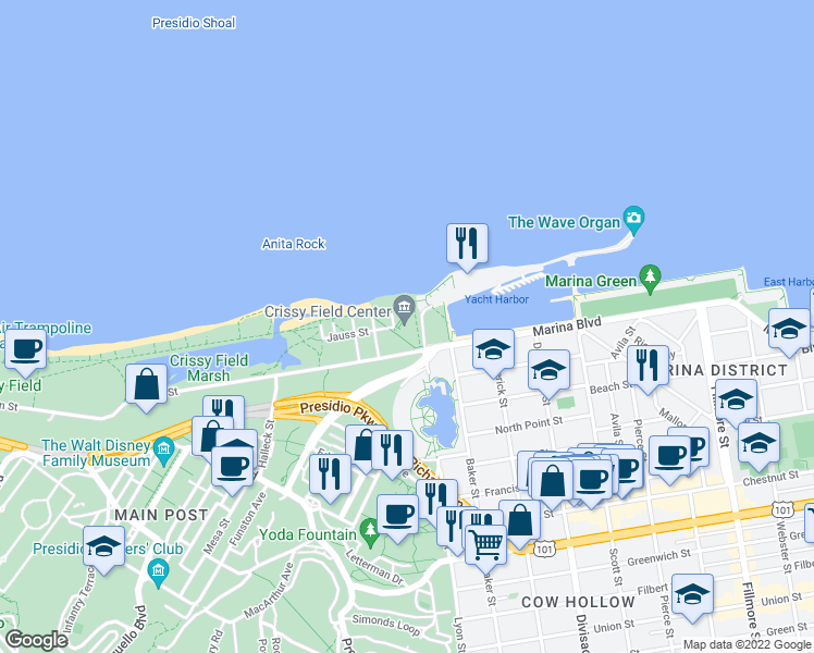 map of restaurants, bars, coffee shops, grocery stores, and more near 1199 East Beach in San Francisco