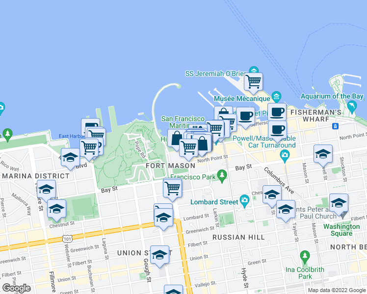 map of restaurants, bars, coffee shops, grocery stores, and more near 900 Beach Street in San Francisco
