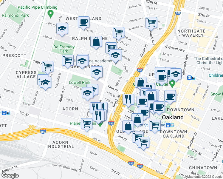 map of restaurants, bars, coffee shops, grocery stores, and more near 801 14th Street in Oakland