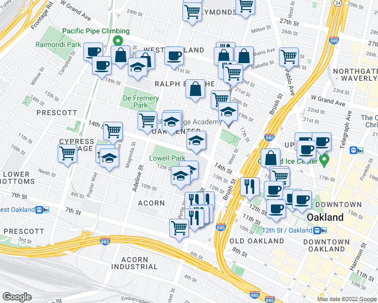map of restaurants, bars, coffee shops, grocery stores, and more near in Oakland