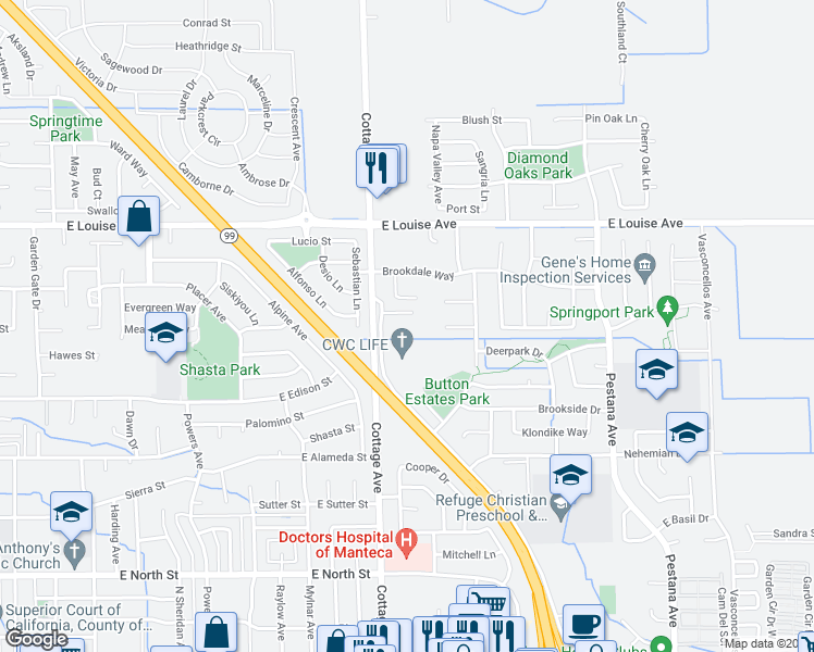 map of restaurants, bars, coffee shops, grocery stores, and more near 794 Button Avenue in Manteca