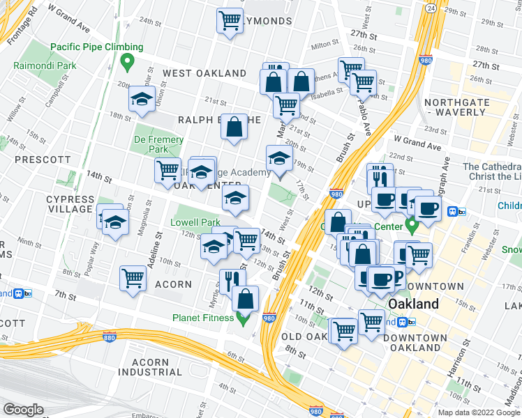 map of restaurants, bars, coffee shops, grocery stores, and more near 1520 Market Street in Oakland