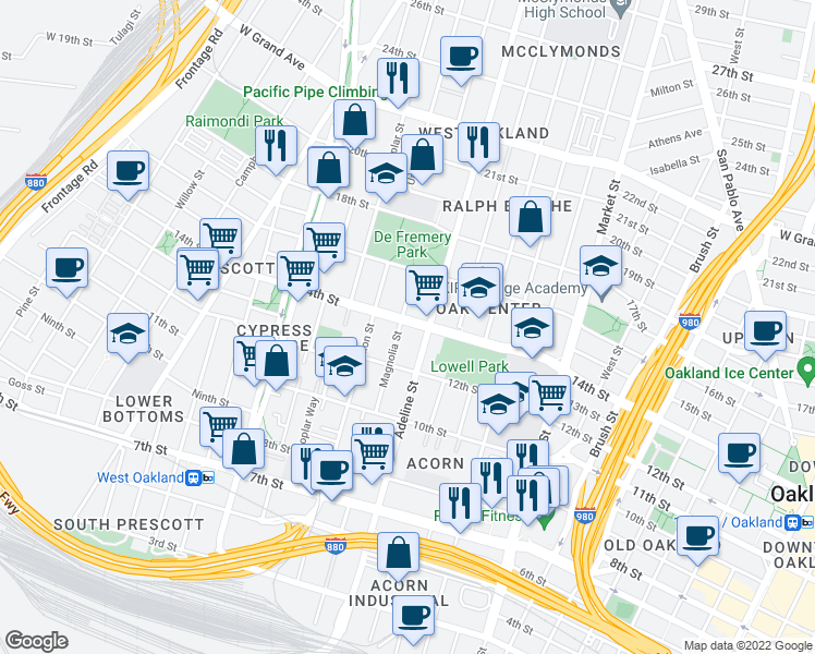 map of restaurants, bars, coffee shops, grocery stores, and more near 1324 Magnolia St in Oakland