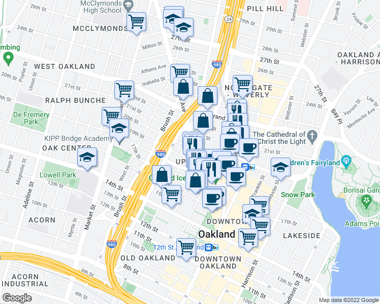 map of restaurants, bars, coffee shops, grocery stores, and more near 660 Thomas L Berkley Way in Oakland