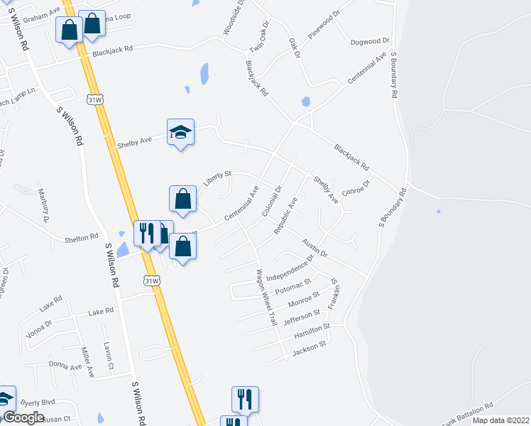map of restaurants, bars, coffee shops, grocery stores, and more near 2838 Colonial Drive in Radcliff